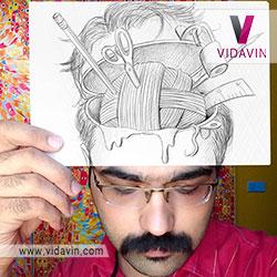 نقاشی سه بعدی چهره مرد و مغز