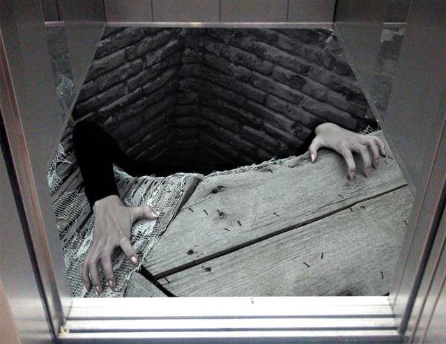 کفپوش سه بعدی کف آسانسور طرح وحشت