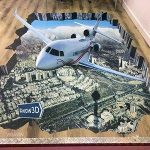 3d floor sticker airplane