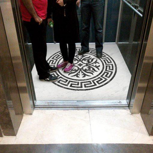 کفپوش آسانسور طرح معرق سنگ ورساچه عکس اول