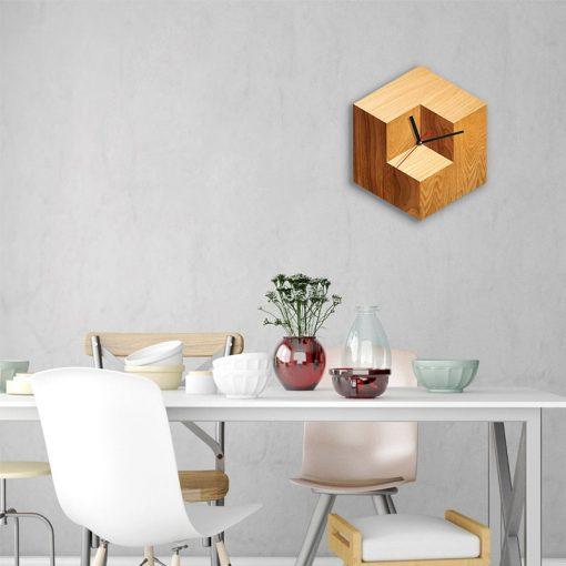 ساعت دیواری چوبی مربع - 4