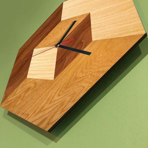 ساعت دیواری چوبی مربع - 2