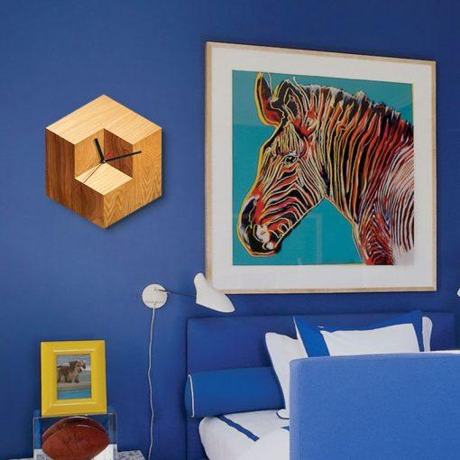 ساعت دیواری چوبی مربع - 1
